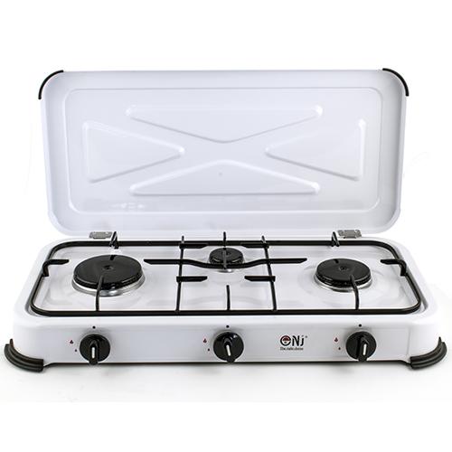 NJ-03 Portable Gas Stove 3 Burner Camping Cooker Lid ...